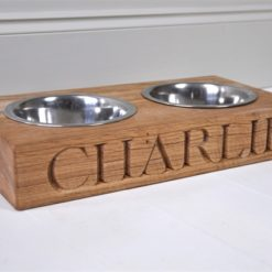 Double wooden oak dog feeding bowl