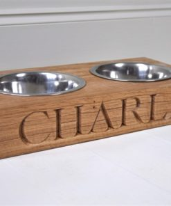 Double wooden oak dog feeding bowl