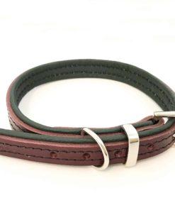 Dark red and cream padded leather dog collar