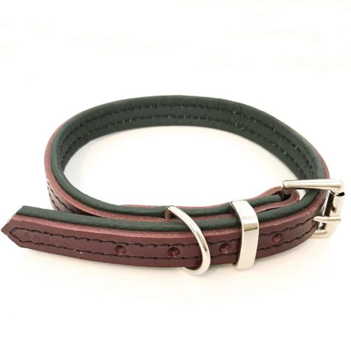 Dark red and cream padded leather dog collar
