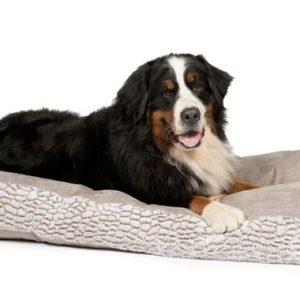 Artic grey box cushion faux suede dog bed