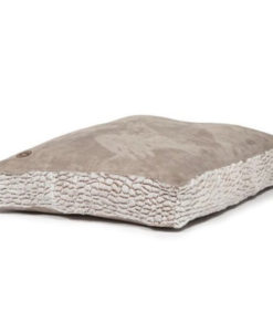 Artic grey box cushion faux suede dog bed