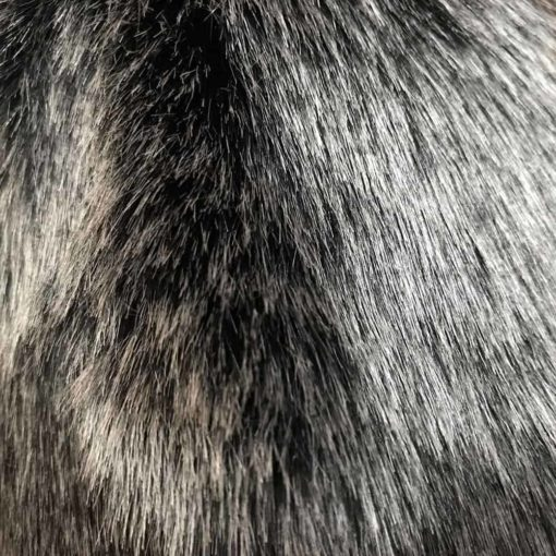 Artic Wolf Black and Silver faux Fur Throw. Luxury dog blankets