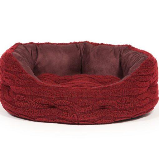 Bobble knit damson red fleece slumber dog bed