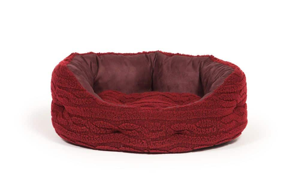 Bobble knit damson red fleece slumber dog bed