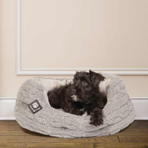 Warm knitted grey bolster dog bed