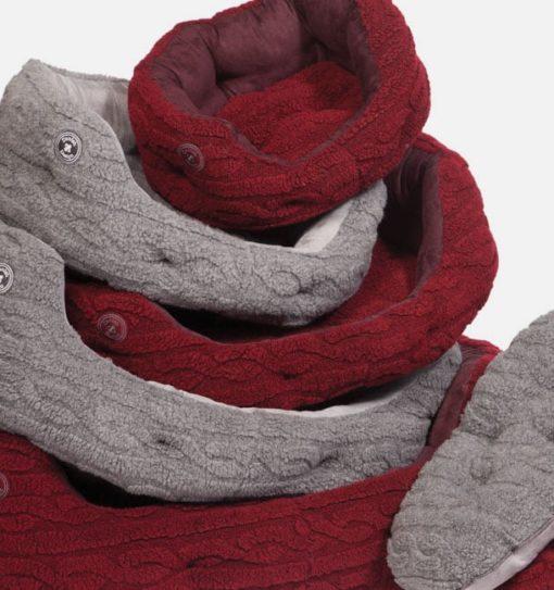 Bobble knit grey and damson fleece slumber dog bed