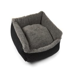 Grey Cosy Wool Dog Bed