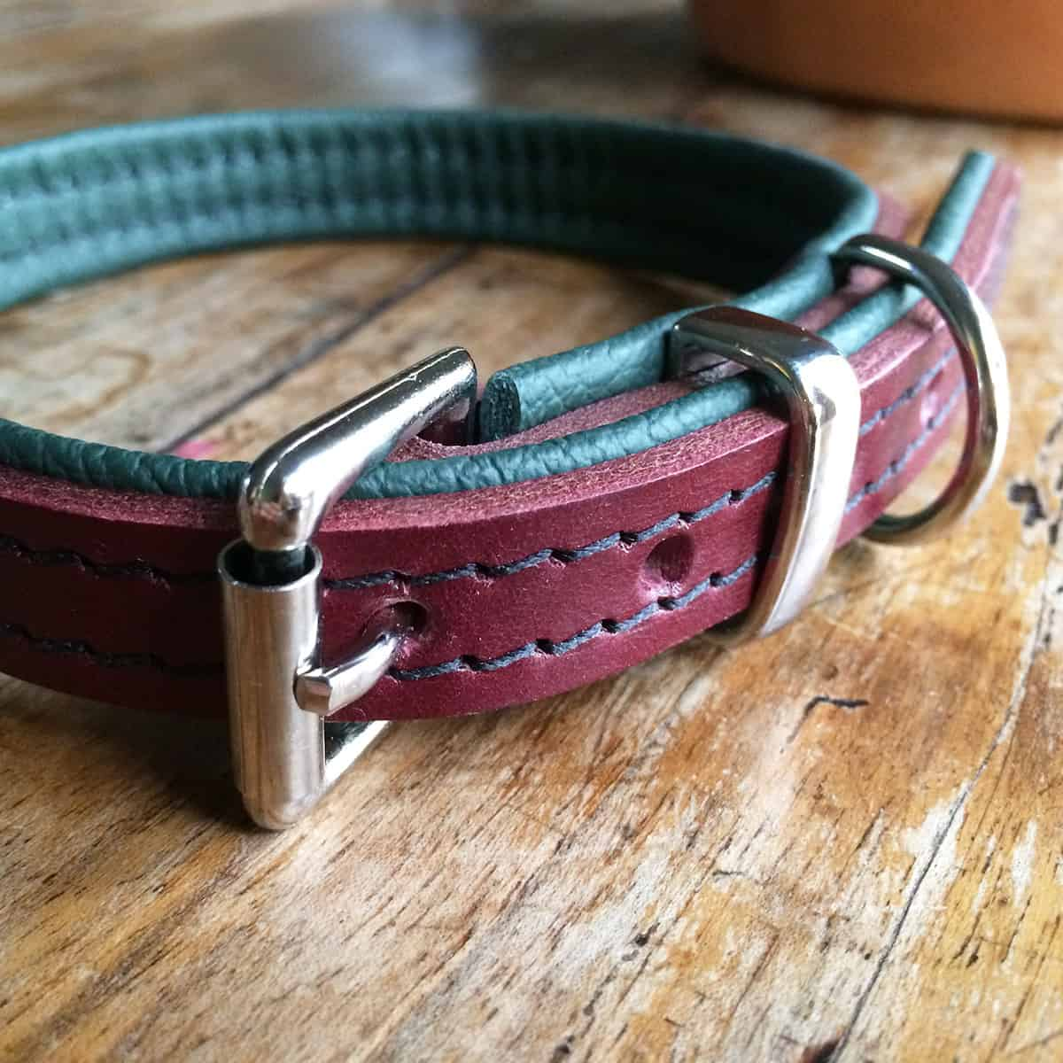 Burgundy red and dark green leather dog collar