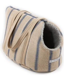 Navy Nordic Stripe Dog Carrier. Luxury dog carrier