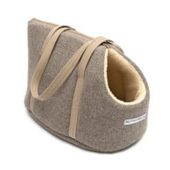 Grey Tweed Dog Carrier. Luxury dog carrier