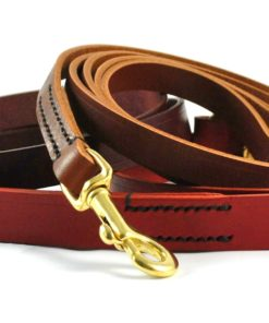 Black classic leather handmade dog lead