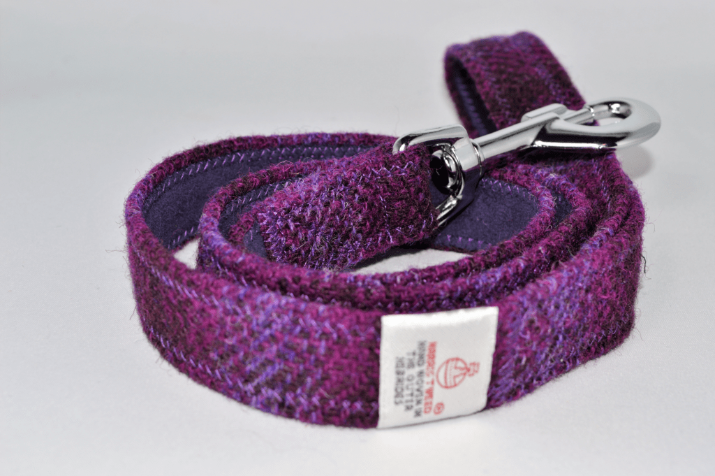 Purple check tweed dog lead