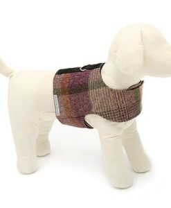 Mutts and Hounds Grape Check Tweed Soft Harness
