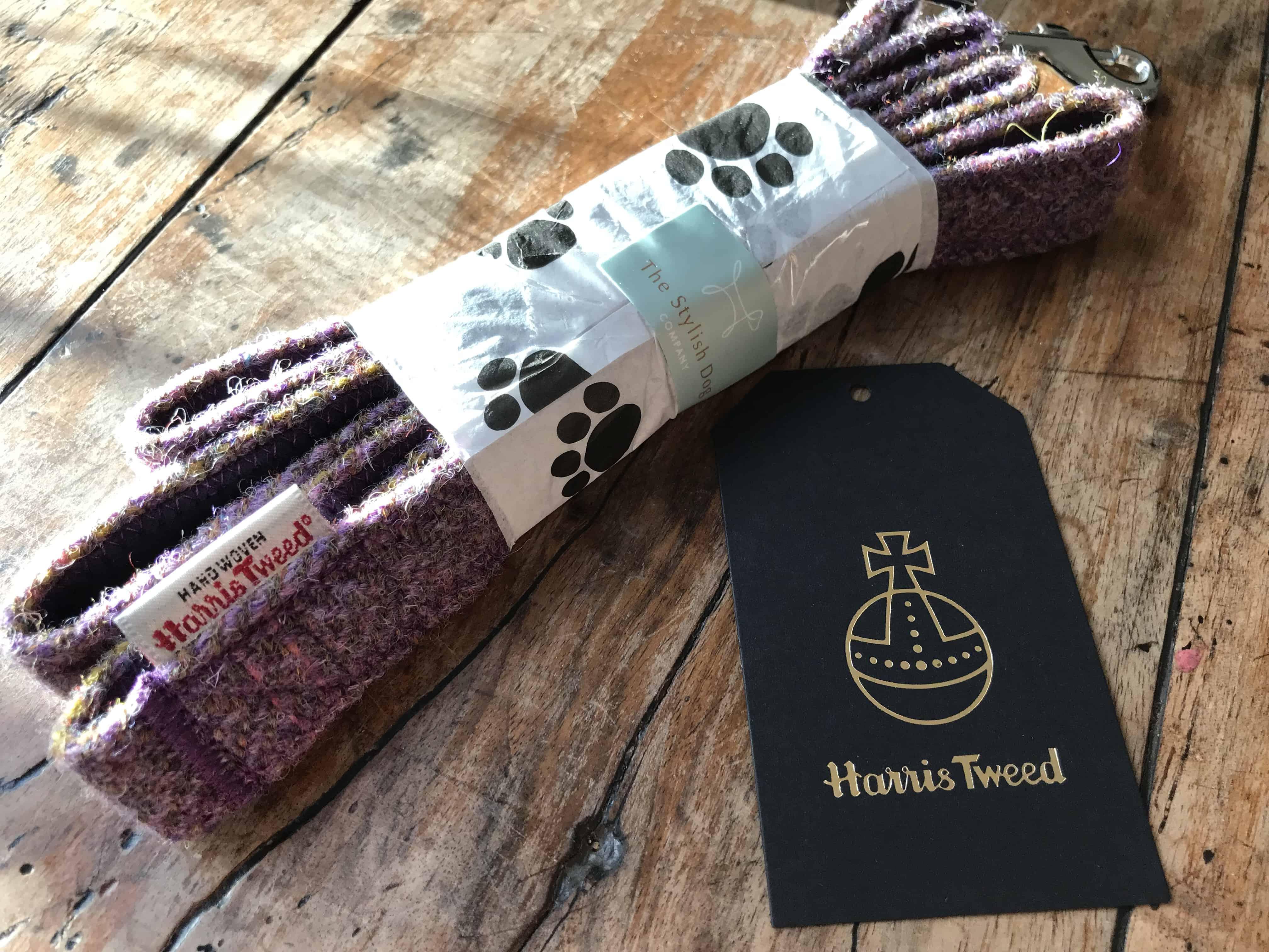 Lavender tweed dog lead