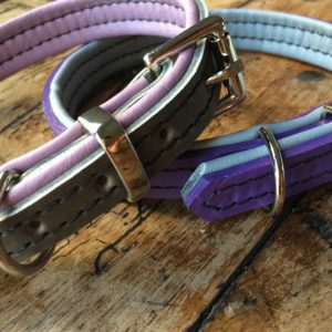Purle and grey padded leather dog collar and grey and lilac/pink collar