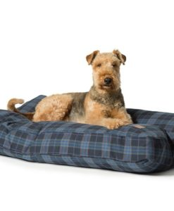 Navy blue and grey check box dog cushion