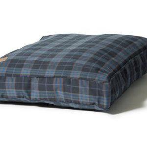 Navy blue and grey check box dog cushion