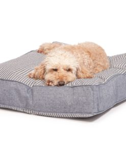 Navy stripe and denim look box cushion dog bed