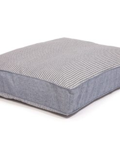 Navy stripe box cushion dog bed