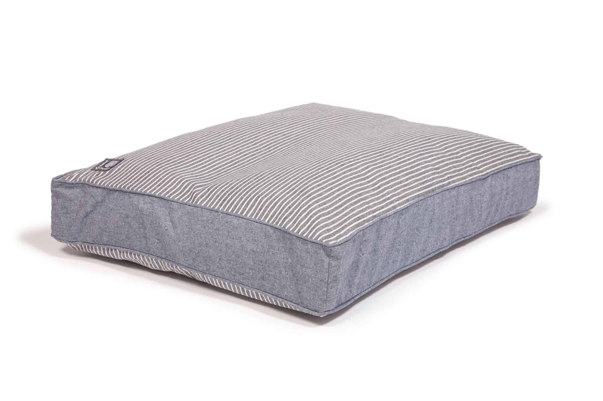 Navy Stripe Denim Look Box Cushion Dog Bed The Stylish