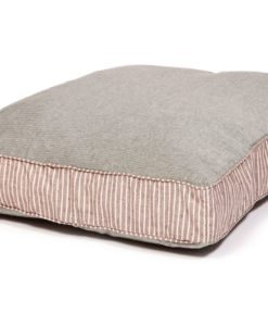 Brown stripe and green denim look box cushion dog bed