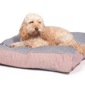 Red stripe and denim look box cushion dog bed