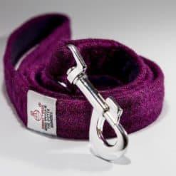 Purple Harris Tweed dog lead