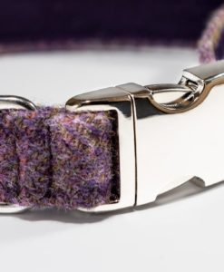 Lavendar tweed designer dog collar