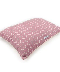 Pink bone print linen dog pillow bed
