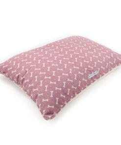 Pink bone print linen dog pillow bed