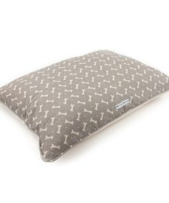 Taupe bone print linen dog pillow bed