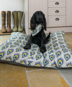 Peacock patterned linen dog pillow bed