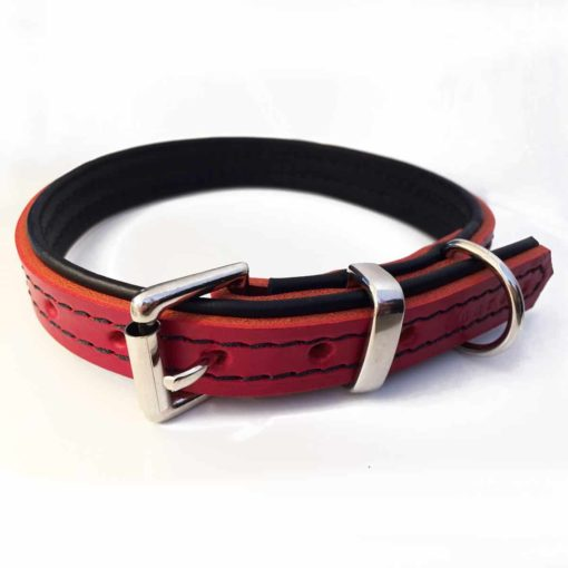 Red with black padding leather dog collar