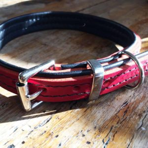 Red and black leather dog collar