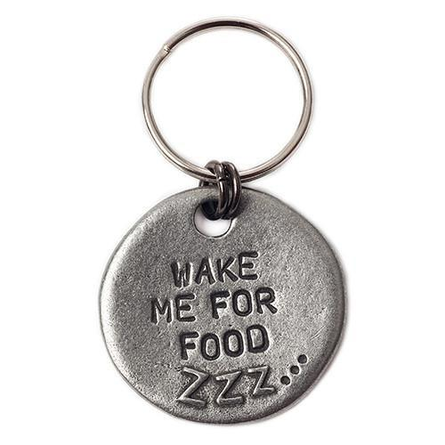 Pewter Dog ID tag wake me up for food