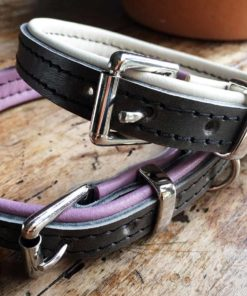 Grey and lilac padded collar and grey and cream padded collar