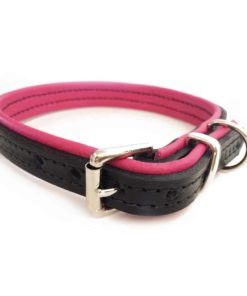 Black and pink padded leather dog collar