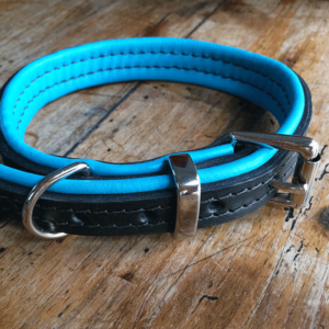 Black and jade leather dog collar