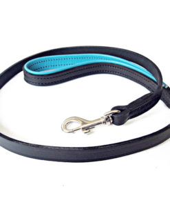 Black and jade padded leather dog lead