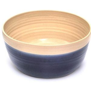 Navy spotty handmade round pottery water bowl