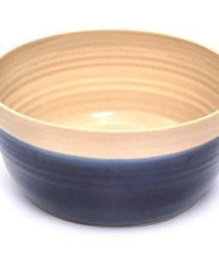 British blue handmade round pottery dog feeding bowl