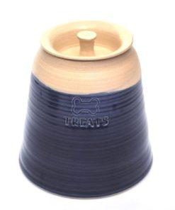 Navy blue hand made pottery dog treat joar