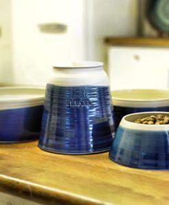 Pottery dog bowls and treat jars handmade