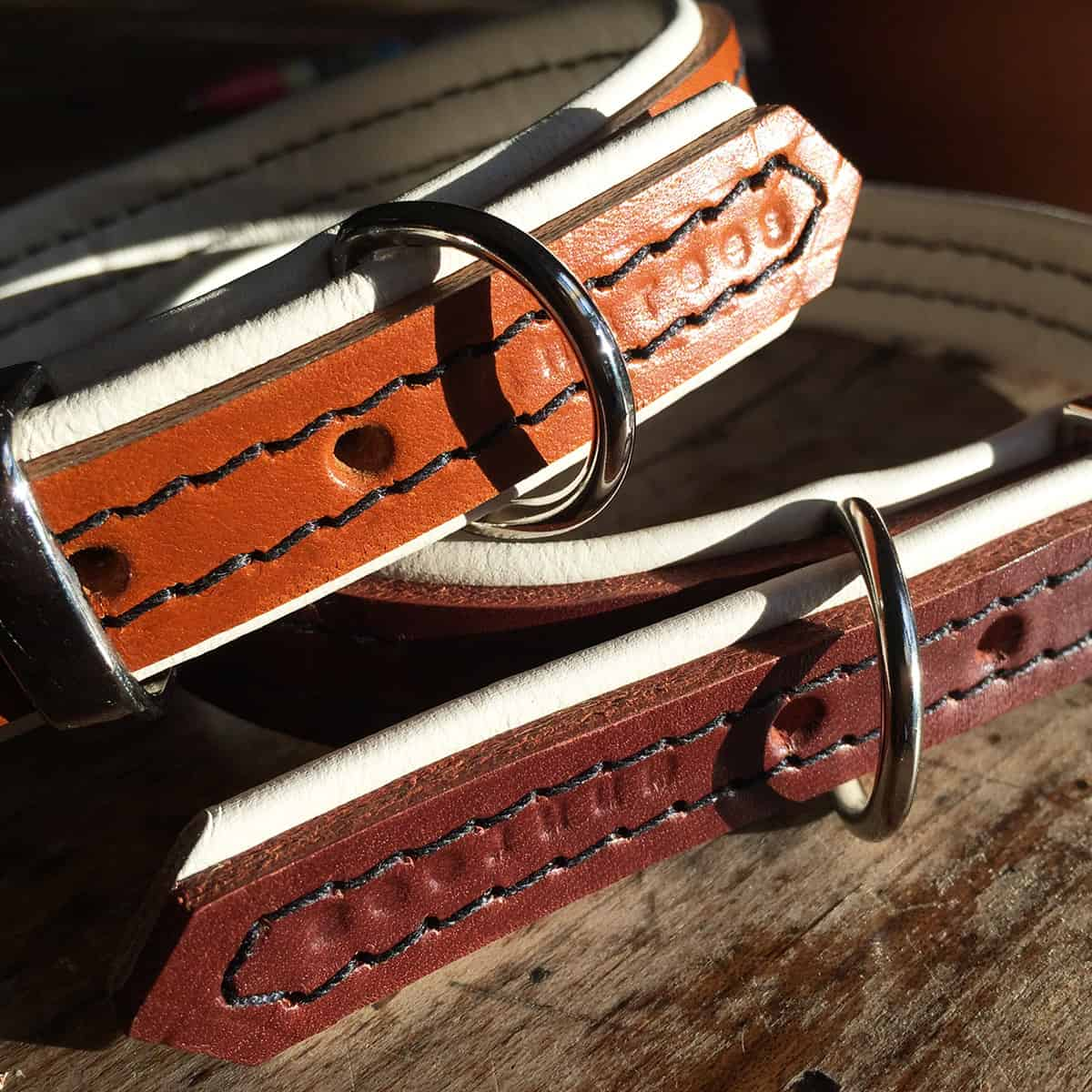 Brown leather and cream padding dog collar and tan leather and cream padding leather dog collar