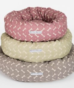 Taupe Bone Print Linen Donut Dog Bed