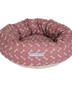 Heather Pink Linen Bones Donut Dog Bed