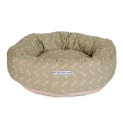 Sage Bone Print Linen Donut Dog Bed. Luxury dog beds