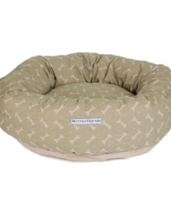 Sage Bone Print Linen Donut Dog Bed. Luxury dog beds