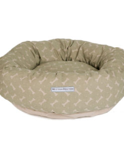 Sage Bone Print Linen Donut Dog Bed